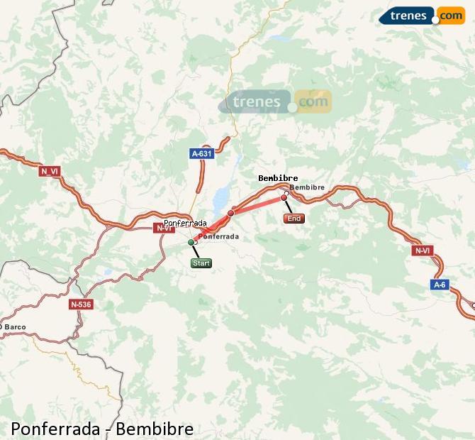 Karte vergrößern Züge Ponferrada Bembibre
