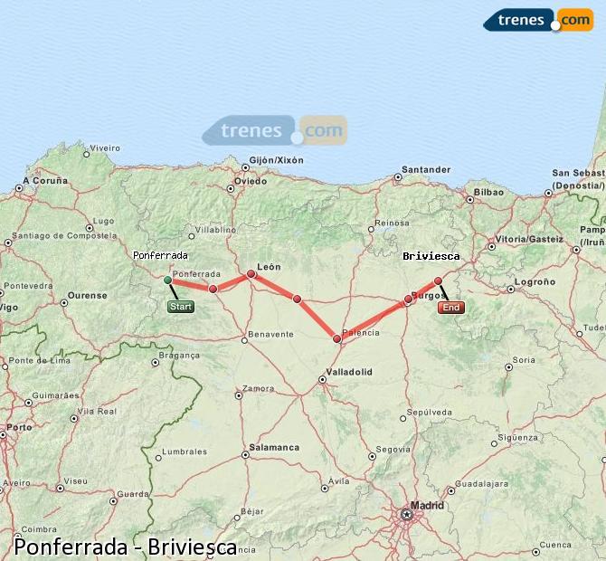 Karte vergrößern Züge Ponferrada Briviesca