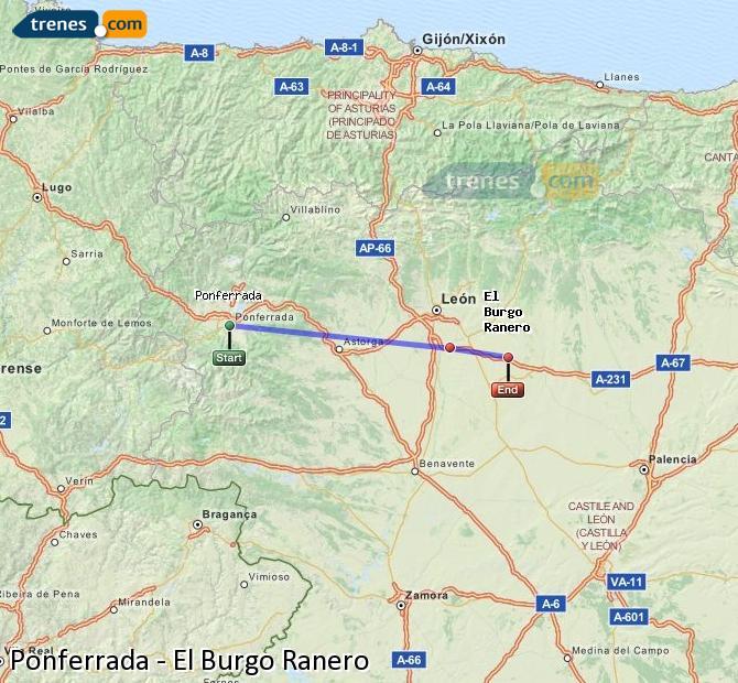 Ingrandisci la mappa Treni Ponferrada El Burgo Ranero