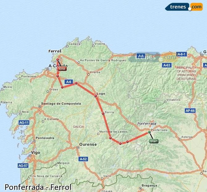 Enlarge map Trains Ponferrada to Ferrol