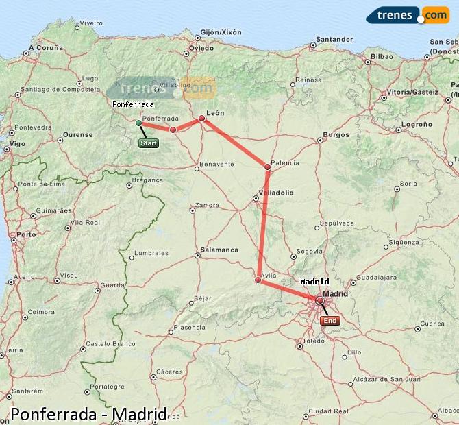 Agrandir la carte Trains Ponferrada Madrid