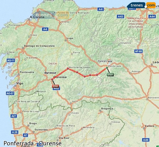 Enlarge map Trains Ponferrada to Ourense