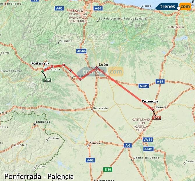 Agrandir la carte Trains Ponferrada Palencia