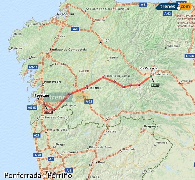 Ingrandisci la mappa Treni Ponferrada Porriño