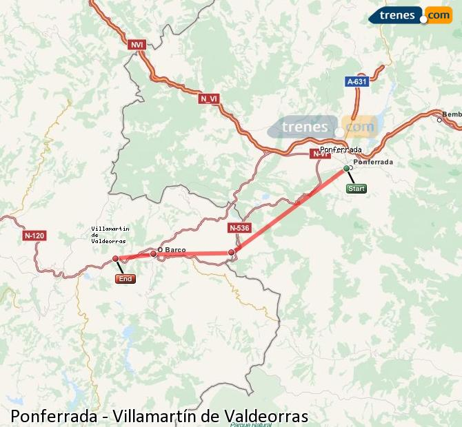 Enlarge map Trains Ponferrada to Villamartín de Valdeorras