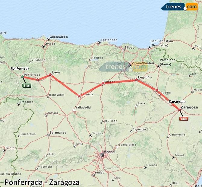 Agrandir la carte Trains Ponferrada Zaragoza