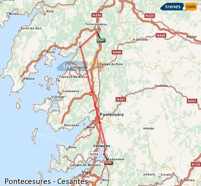 Ingrandisci la mappa Treni Pontecesures Cesantes