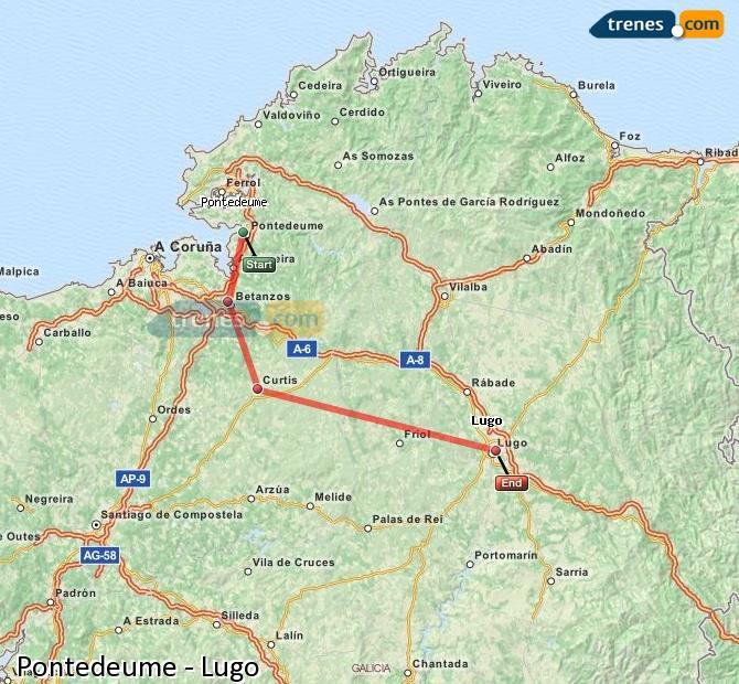 Ingrandisci la mappa Treni Pontedeume Lugo