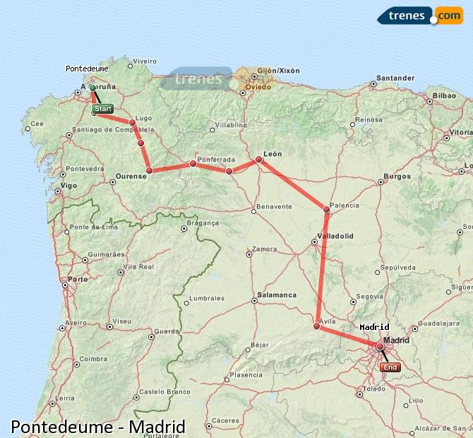 Enlarge map Trains Pontedeume to Madrid