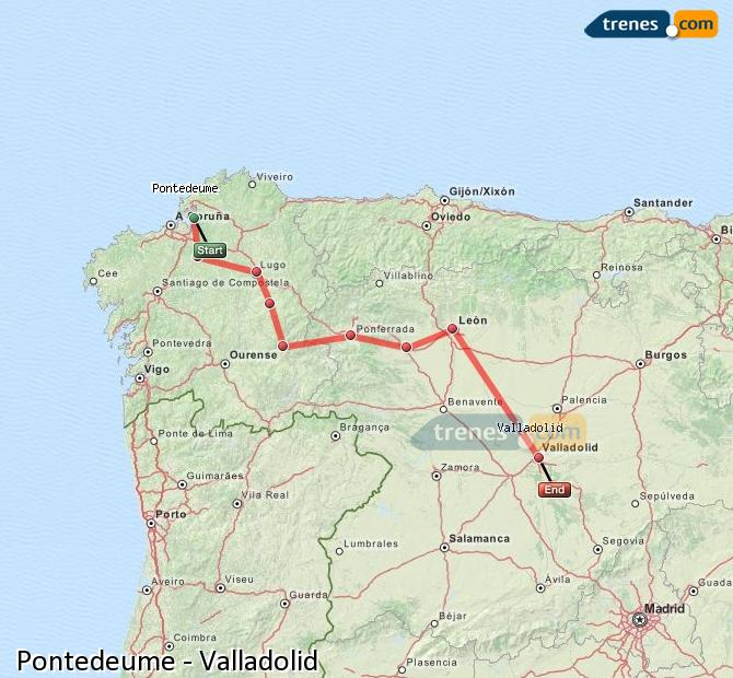 Enlarge map Trains Pontedeume to Valladolid