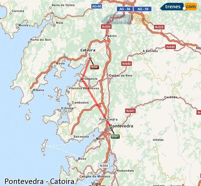 Ingrandisci la mappa Treni Pontevedra Catoira