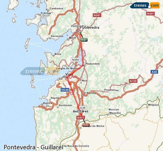 Ingrandisci la mappa Treni Pontevedra Guillarei