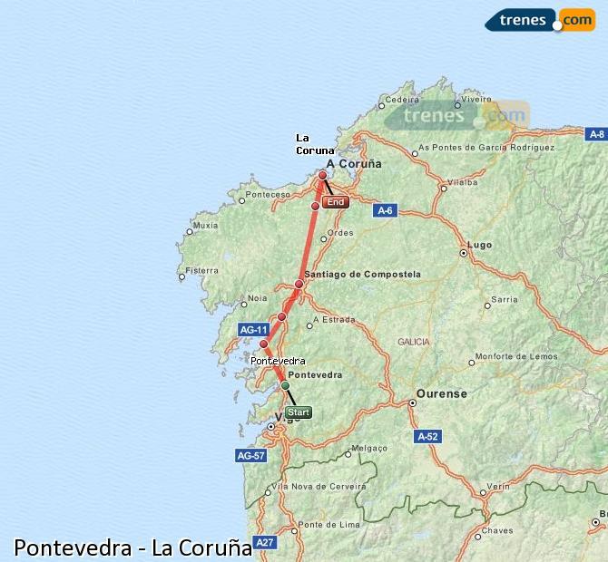 Ampliar mapa Trenes Pontevedra La Coruña
