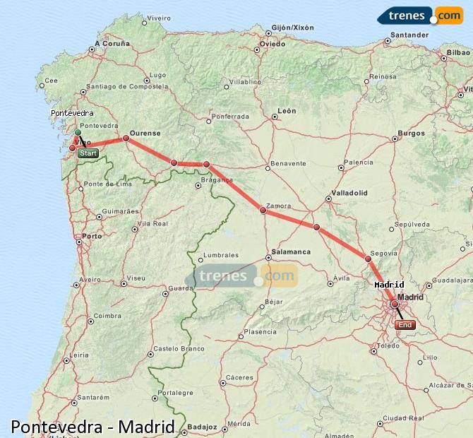 Agrandir la carte Trains Pontevedra Madrid