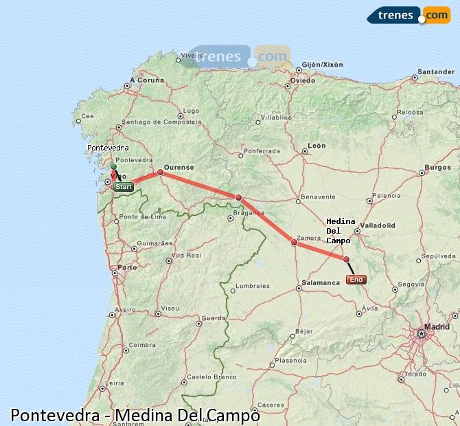 Medina Del Campo Mapa.Cheap Pontevedra To Medina Del Campo Trains Tickets From 26