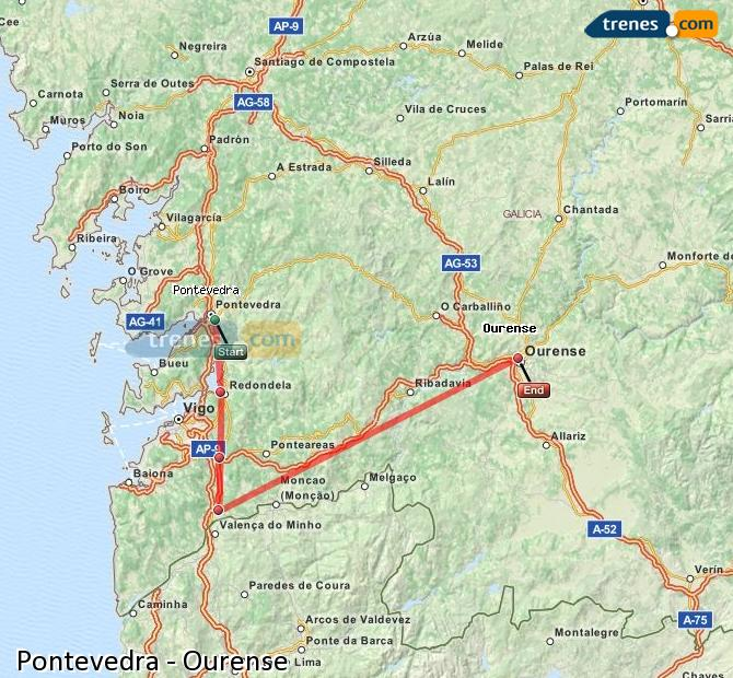 Ampliar mapa Trenes Pontevedra Ourense