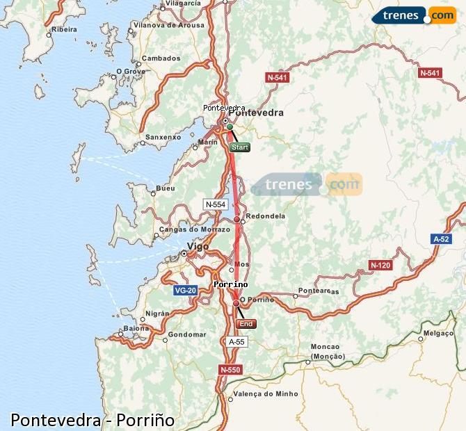 Agrandir la carte Trains Pontevedra Porriño
