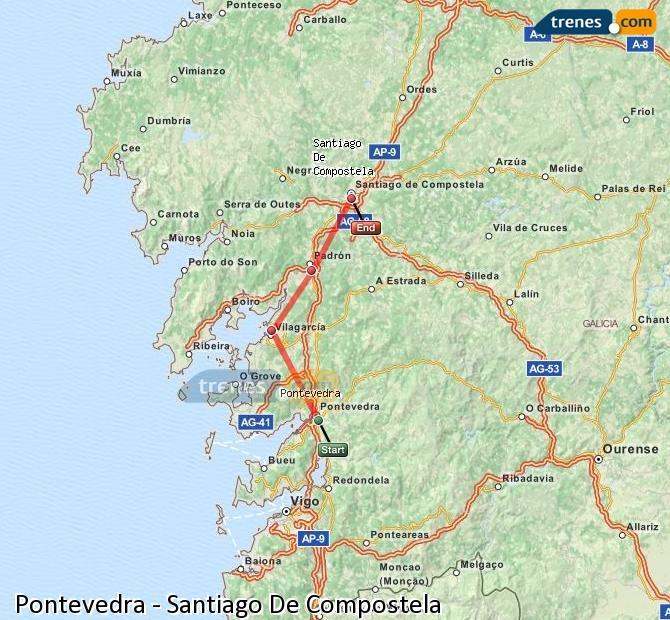 Karte vergrößern Züge Pontevedra Santiago De Compostela