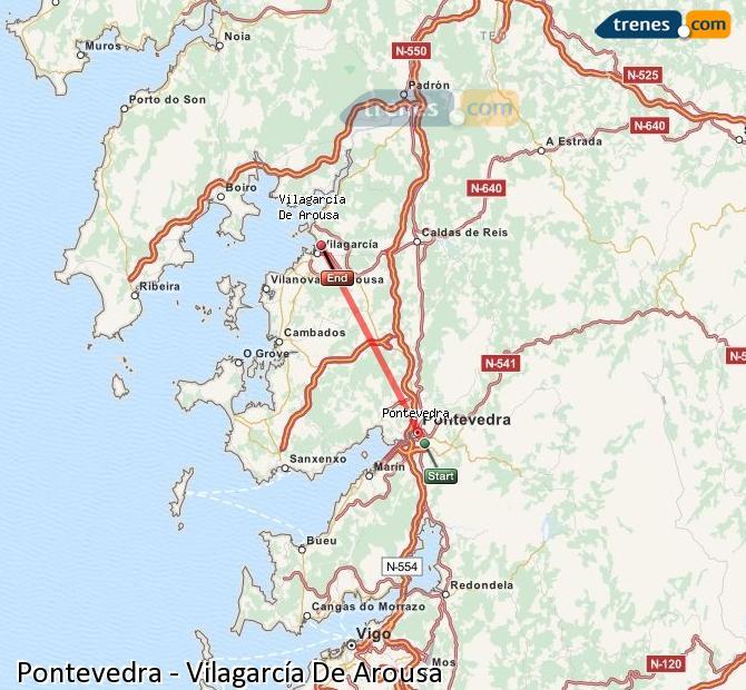 Ingrandisci la mappa Treni Pontevedra Vilagarcía De Arousa