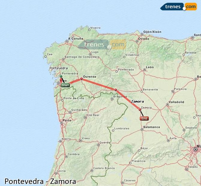 Enlarge map Trains Pontevedra to Zamora