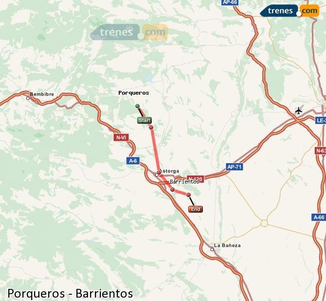 Enlarge map Trains Porqueros to Barrientos