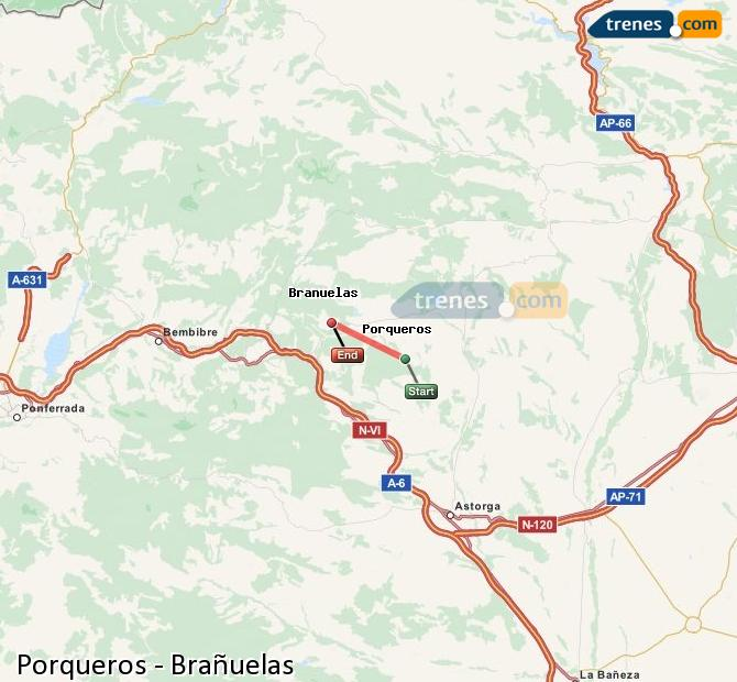 Enlarge map Trains Porqueros to Brañuelas