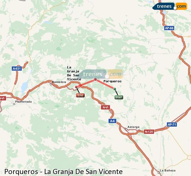 Enlarge map Trains Porqueros to La Granja De San Vicente
