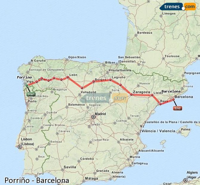 Agrandir la carte Trains Porriño Barcelone