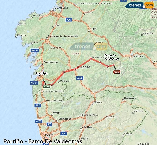 Agrandir la carte Trains Porriño Barco De Valdeorras
