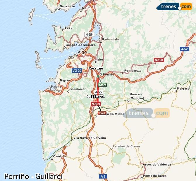 Ampliar mapa Comboios Porriño Guillarei