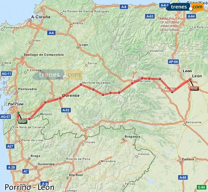 Enlarge map Trains Porriño to Lion