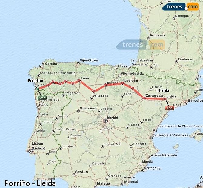 Agrandir la carte Trains Porriño Lleida