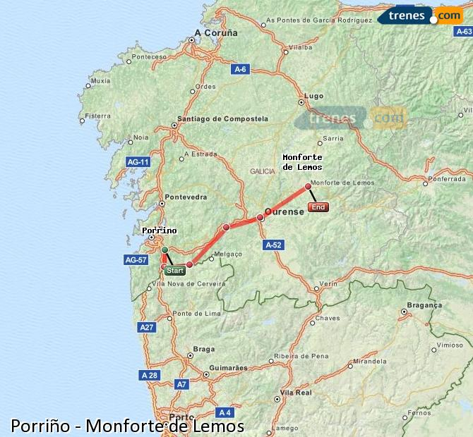 Agrandir la carte Trains Porriño Monforte de Lemos