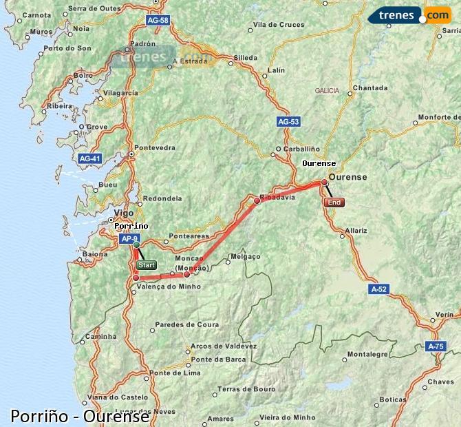 Agrandir la carte Trains Porriño Ourense