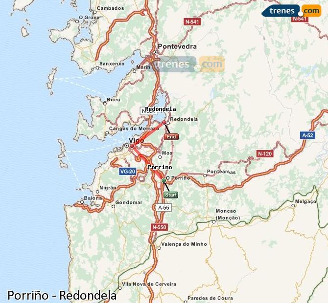 Karte vergrößern Züge Porriño Redondela