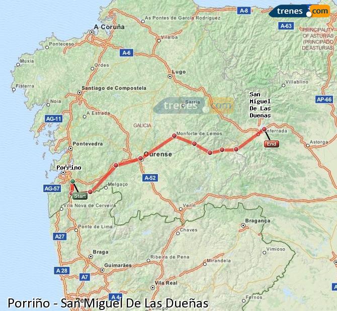 Karte vergrößern Züge Porriño San Miguel De Las Dueñas