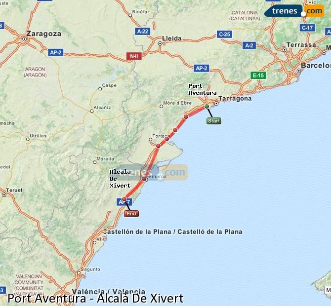 Enlarge map Trains Port Aventura to Alcalà De Xivert