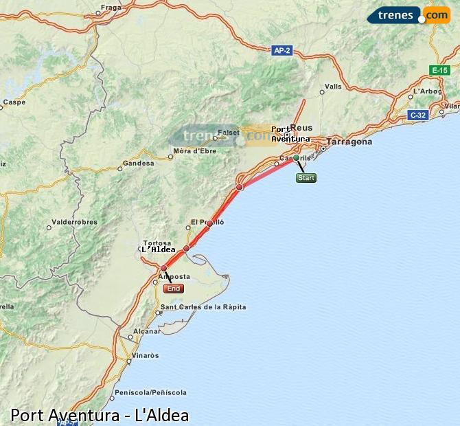 Karte vergrößern Züge Port Aventura L'Aldea