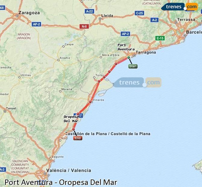 Karte vergrößern Züge Port Aventura Oropesa Del Mar