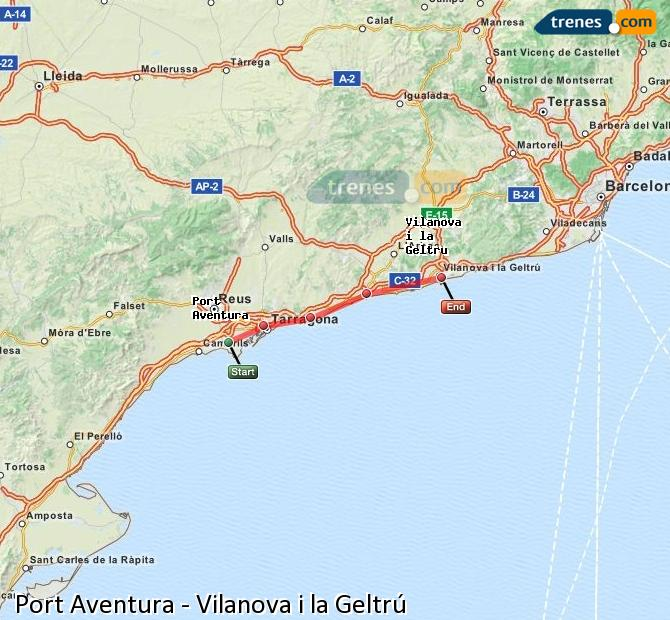 Enlarge map Trains Port Aventura to Vilanova i la Geltrú