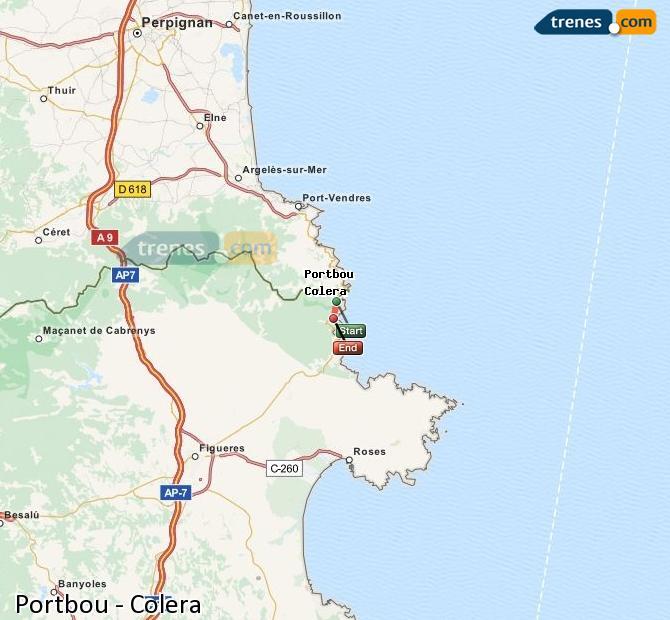 Ingrandisci la mappa Treni Portbou Colera