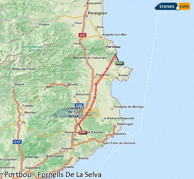 Ingrandisci la mappa Treni Portbou Fornells De La Selva