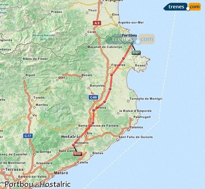 Ingrandisci la mappa Treni Portbou Hostalric