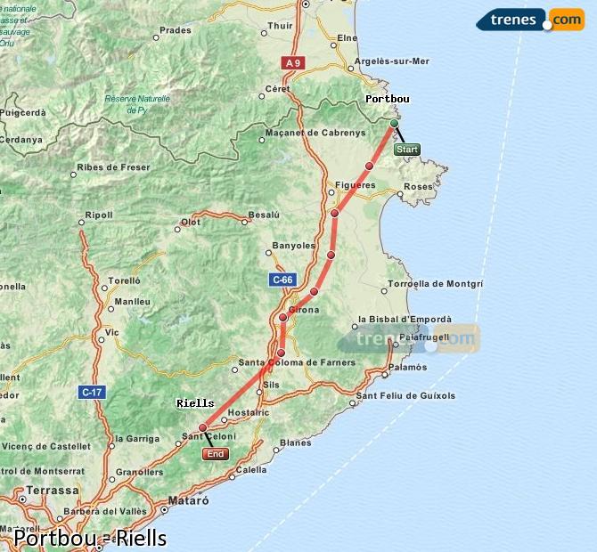 Ingrandisci la mappa Treni Portbou Riells