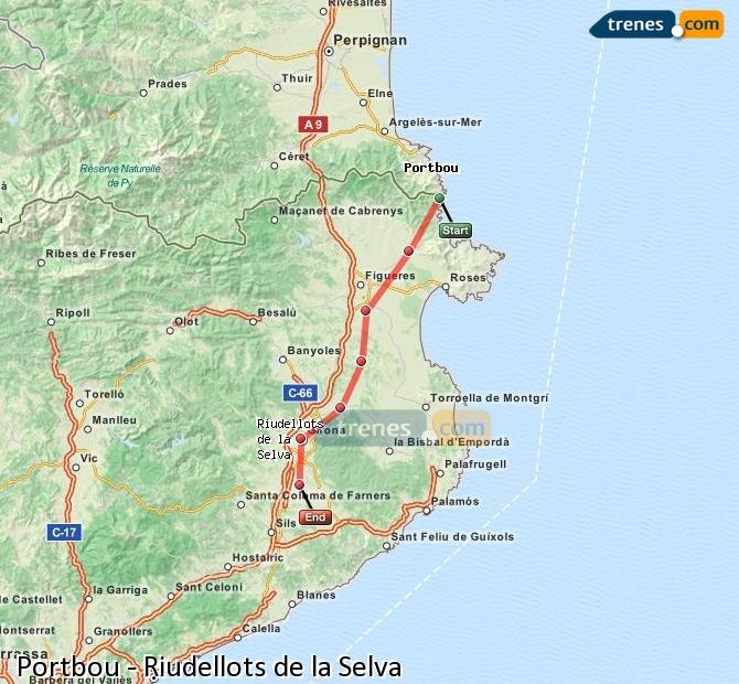 Agrandir la carte Trains Portbou Riudellots de la Selva
