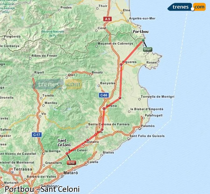 Enlarge map Trains Portbou to Sant Celoni