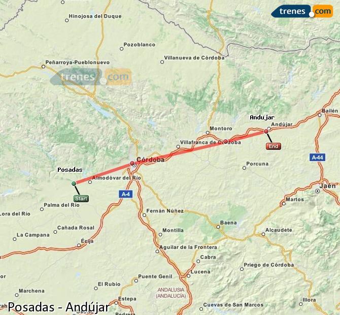 Enlarge map Trains Posadas to Andújar