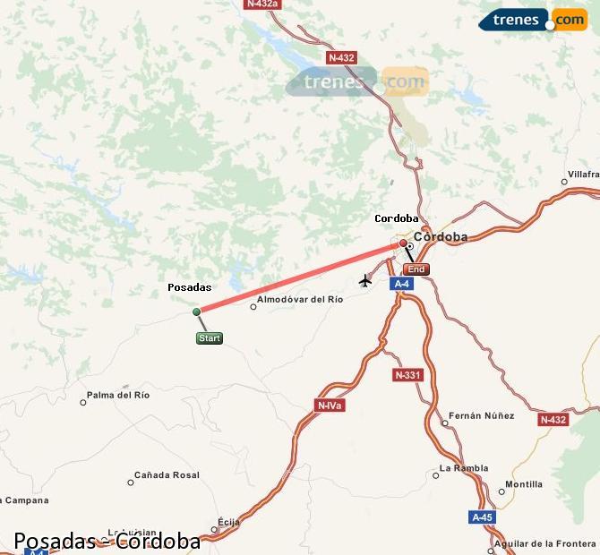 Enlarge map Trains Posadas to Córdoba