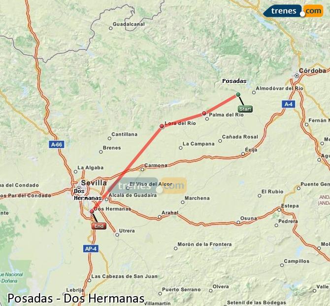 Enlarge map Trains Posadas to Dos Hermanas