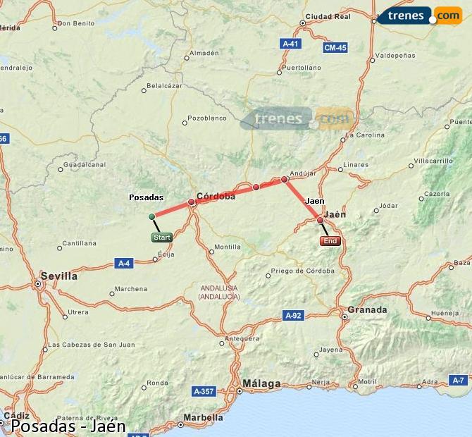 Enlarge map Trains Posadas to Jaén